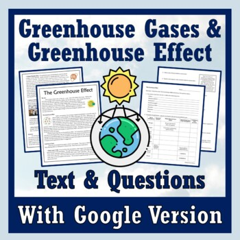 Greenhouse Effect & Greenhouse Gases Article & Worksheet (Climate Change)