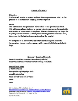 Greenhouse Effect Intro Lab