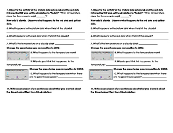 Greenhouse Gases pHet Simulation Worksheet