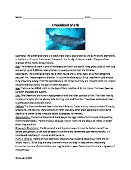 Greenland Shark - Article Review Questions Vocabulary Word Search