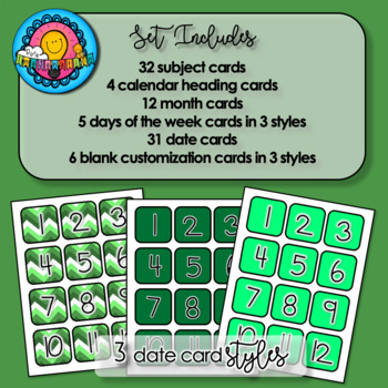Greens & White Chevron Themed Pocket Chart Subject Schedule Cards & Calendar