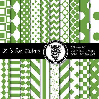 Green/white dual tone Digital Paper Pack 1 - CU ok { ZisforZebra}