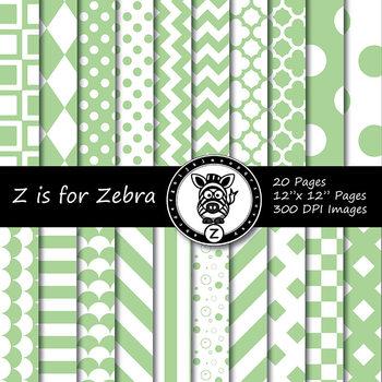 Green/white dual tone Digital Paper Pack 2 - CU ok { ZisforZebra}