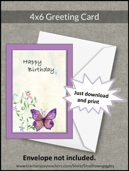 Greeting Card, Birthday, 4 x 6 card, Digital Download, Printable