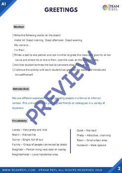 Greetings A1 Beginner Lesson Plan For ESL