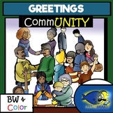 Greetings- CommUNITY People Clip-Art Set--- 38 Pieces BW/Color