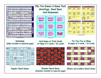 Greetings, Good Byes and Responses 6 Board Game Bundle