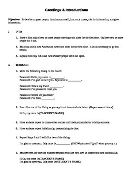 Greetings & Introductions Lesson Plan