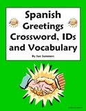 Spanish Greetings and Basics Crossword Puzzle, IDs, and Vocabulary List