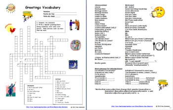 Spanish greetings and basics crossword puzzle ids and vocabulary list m4hsunfo