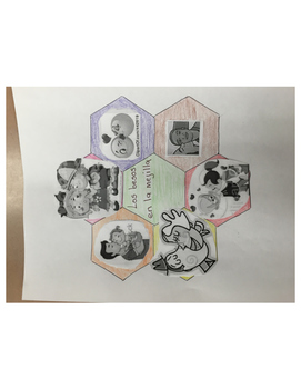 Greetings/Saludos using a hexagon template