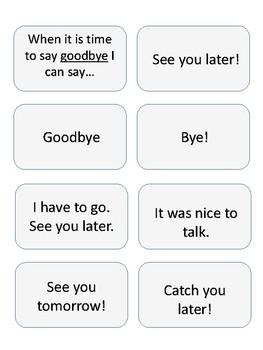 Greetings Social Script Mini Cards (Hello & Goodbye)