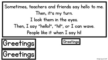 Greetings Social Sequence File Folder for Special Education