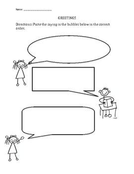 greetings worksheet by jamie 39 s teaching materials tpt. Black Bedroom Furniture Sets. Home Design Ideas