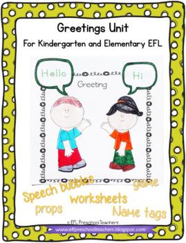 Greetings Worksheets for Preschool ELL