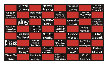 Greetings and Good Byes Checker Board Game