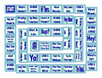 Greetings and responses board game by esl fun games tpt greetings and responses board game m4hsunfo