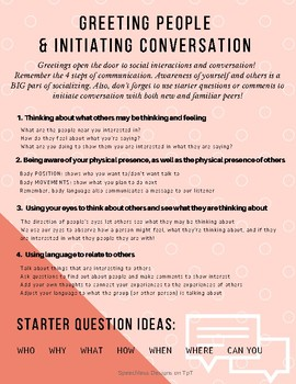 Greetings and Initiating a Conversation Handout