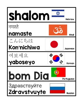 Greetings in different languages by better together teaching tpt greetings in different languages m4hsunfo