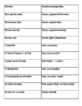 French Salutations Worksheets & Teaching Resources | TpT