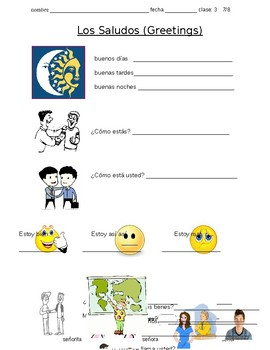 Greetings vocabulary - Los Saludos vocabulario