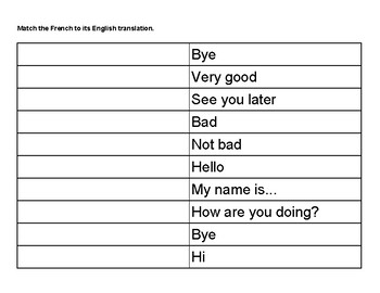 Greetings vocabulary review