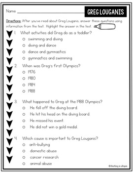 Greg Louganis: Differentiated Biography Passages & Reading Comprehension
