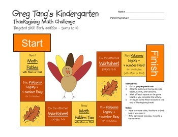 Greg Tang's K-5 Thanksgiving Break Math Challenge