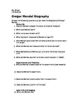 genetics gregor mendel biography analysis questions and summary. Black Bedroom Furniture Sets. Home Design Ideas