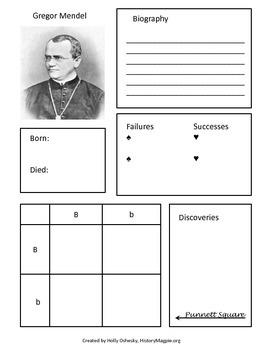 Gregor Mendel bio Interactive History Notebook Page