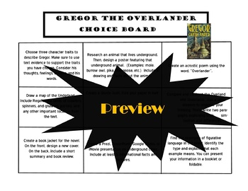 Gregor the Overlander Choice Board Tic Tac Toe Novel Activities Menu Project