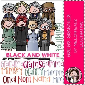 Melonheadz: Grannies clip art - BLACK AND WHITE