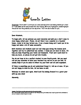 Gremlin Letter!  Fun First Day of School Editing Activity :)
