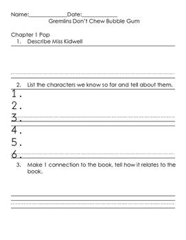 Bailey School Kids #13 Gremlins Don't Chew Bubble Gum Comprehension Packet