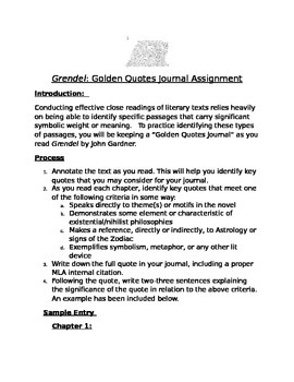 Grendel Golden Quotes Assignment