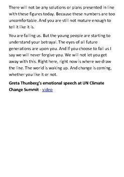 Greta Thunberg's speech at the UN Climate Action Summit in New York Handout