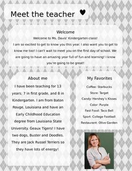 Grey Argyle Meet The Teacher Template **Editable**