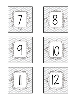 Grey Chevron Calendar Numbers and Months and Day Printables