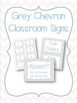 Grey Chevron Classroom Signs- Fully Editable