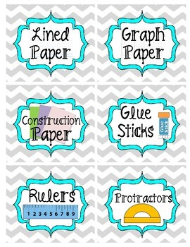 Gray and Teal Chevron Classroom Supply Labels (72+ Labels)