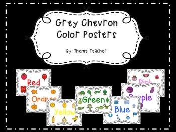 Gray Chevron Color Posters