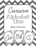 Grey Chevron Cursive Alphabet Line