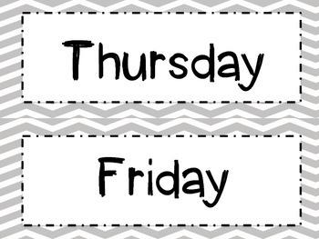 Gray Chevron Days of the Week