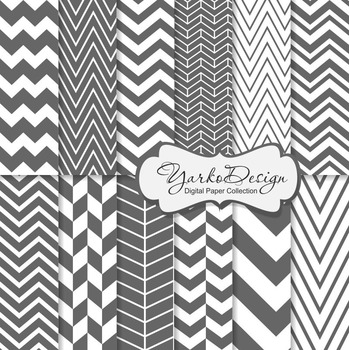 Grey Chevron Digital Scrapbooking Paper Set, 12 Gray Digital Paper Sheets