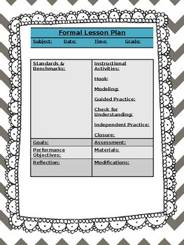 Grey Chevron Formal Lesson Plan Template