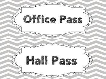 Gray Chevron Hall Passes