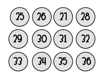 Grey Chevron Number Labels