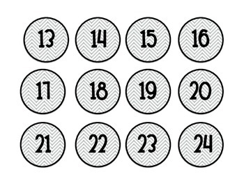 Grey Chevron Number Labels