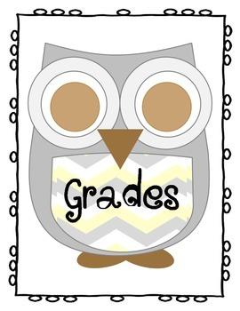 Grey Chevron Owl Grades Binder Cover