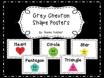 Gray Chevron Shape Posters
